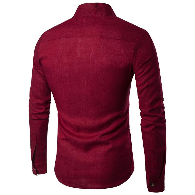 Tunique col Mao rouge, manches longues, de dos