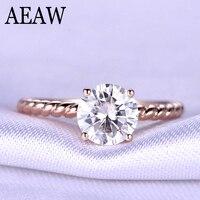 2 Carat ct 8mm Round Cut Engagement&Wedding Moissanite Diamond Ring with Twist Ringband Genuine 10K 585 Rose Gold