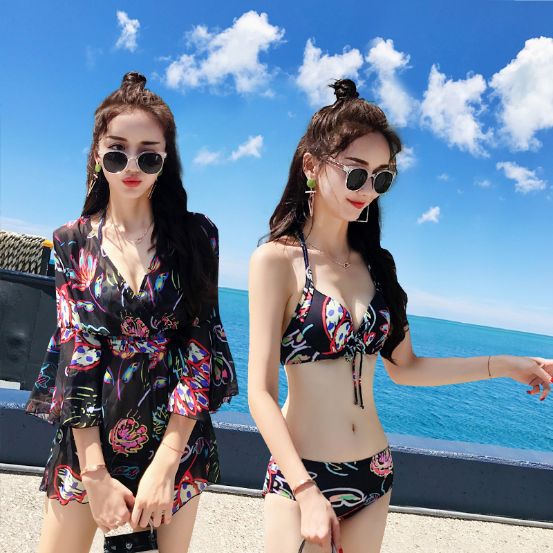 2018 Time-limited Hot Spring Bathing Suit Three Piece Split Bikinis Cover Belly Thin Conservative Sexy Swimsuit Gather