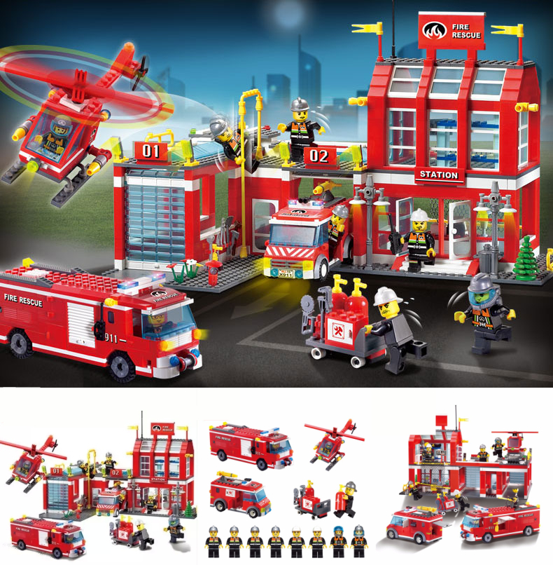 New Enlighten City Fire Station Rescue Control fit legoings police city figures model Building Blocks bricks diy Toys gift kid