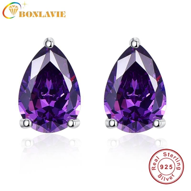 BONLAVIE 12.8ct Nature Amethyst Jewelry 925 Silver Earring Pear Cut Water Drop Shape Brand Jewelry For Women Office Work to Wear