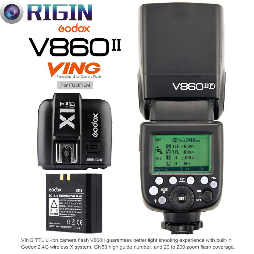 Godox X1T-F Wireless Remote Flash Trigger Transmitter compatible for Fujifilm Camera Godox V860II-F TTL 2.4G High Speed Sync 1//8000s GN60 Li-ion Battery Camera Flash speedlite light