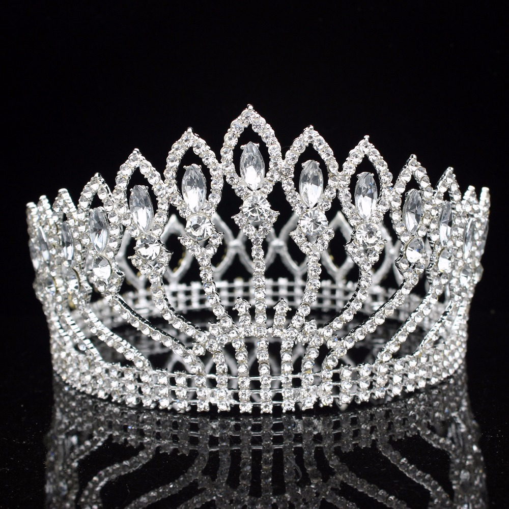 16 Colors Sparkling Crystal Wedding Bridal Tiaras and Crowns Bride Headpiece Girl/Women Diadem Wedding Hair Jewelry Accessories 03 red gold bride wedding hair tiaras ancient chinese empress hat bride hair piece
