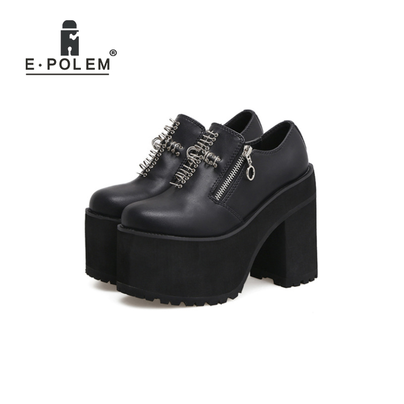 Shoes Harajuku Boots Thick Sole Boots Harajuku Shoes For Women Genuine Leather Punk Rivet Rock Harajuku Round Toe Martin Boots free shipping men s cool stylish spike rivet studded leather motorcycle martin boots punk rock fashion shoes for men