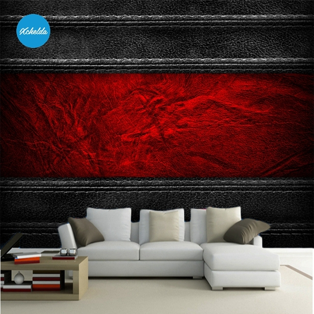 Mural 3D Wallpapers Custom Wall Murals Painting Black Red Leather Design  Background Bedroom Living Room Papel