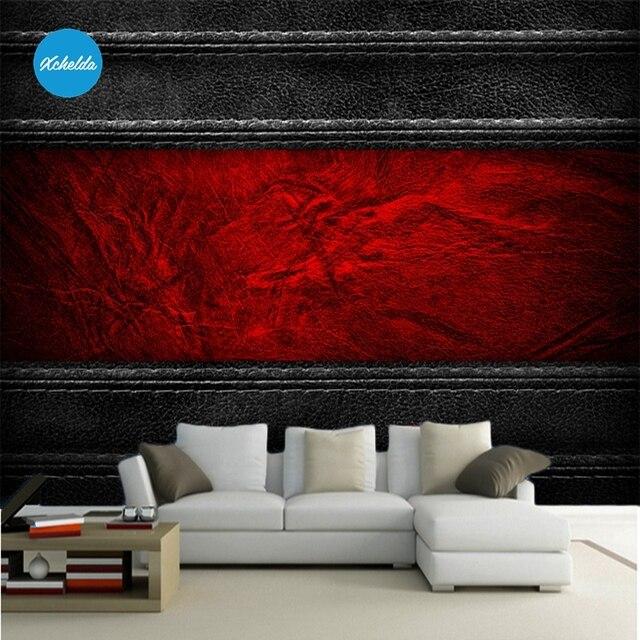 Wandbild 3D Tapeten Custom Wandmalereien Malerei Schwarz Rot Leder Design  Hintergrund Schlafzimmer Wohnzimmer Papel De Parede