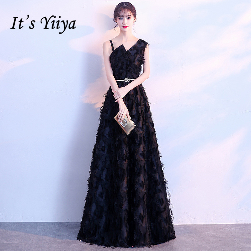 It's Yiiya Honorable Little Black One-Shoulder Sleevesless Feathers   Evening     Dresses   Backless Floor-Length Formal   Dress   MX026