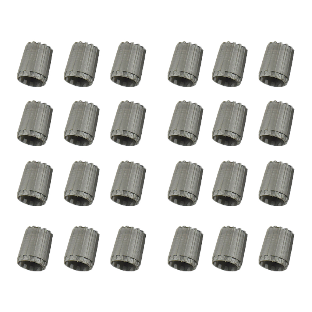 24pcs Grey Tpms Service Kit Tire Valve Stem Caps Set High Quality Caps Include Inner O-ring Excellent (In) Quality