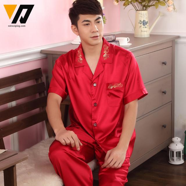 Satén de seda Ropa de Dormir de Los Hombres Conjuntos de Pijamas ropa de Dormir Pijamas Loungewear Pijamas Set Traje de Manga Corta