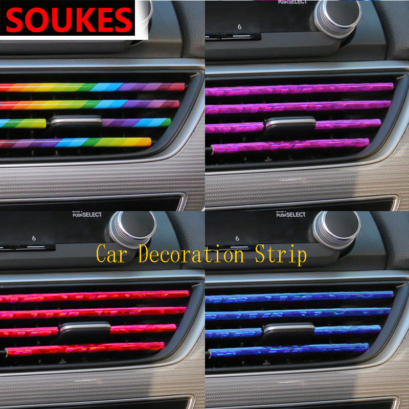10pc Car Styling Air Outlet Decoration Strip For Seat Leon Lbiza Skoda Octavia a5 A7 2 Rapid Kodiaq Hyundai Accent Solaris Cover executive car