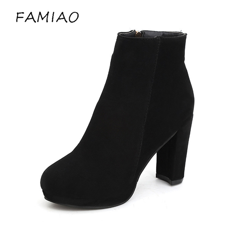 FAMIAO 2018 Spring Autumn Women Ankle Boots Female High Heels  flock Shoes Woman party winter  Platform Fashion Shoes newest women half knee high motorcycle boots vintage chunky heels spring autumn outdoor platform shoes woman female boots