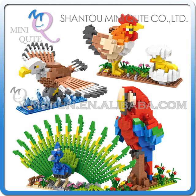 Conjunto completo 4 unids/lote Mini Qute LOZ kawaii Animal Peafowl Pollo Loro Águila damond de plástico bloques de construcción de ladrillos de juguetes educativos