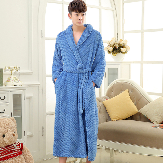 f4de244be1 On Sale Mens Thick Waffle Extra Long Kimono Bath Robe Soft as Silk Bathrobe  Men Warm Winter Robes Male Dressing Gown Nightgowns