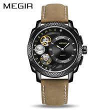 MEGIR Casual Men Watch Top Brand Luxury Chronograph Quartz Clock Relogio Masculino Waterproof Leather Army Military Wristwatch