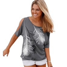 Slit Sleeve Cold Shoulder Feather Print Women Casual Summer T Shirt Girl