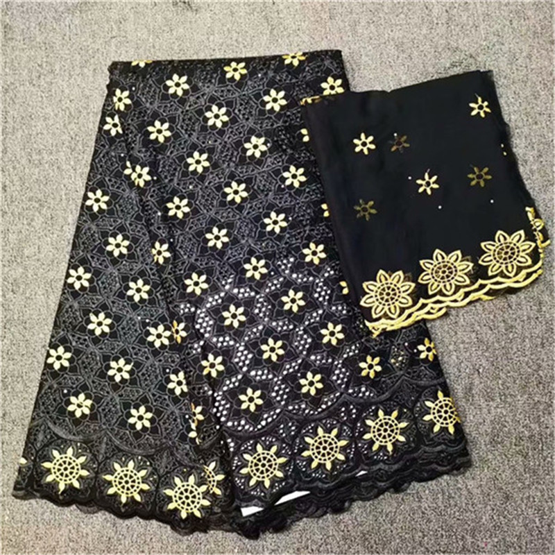 2019 New Design black color african lace fabric 2019 high quality african tulle lace fabric luxury