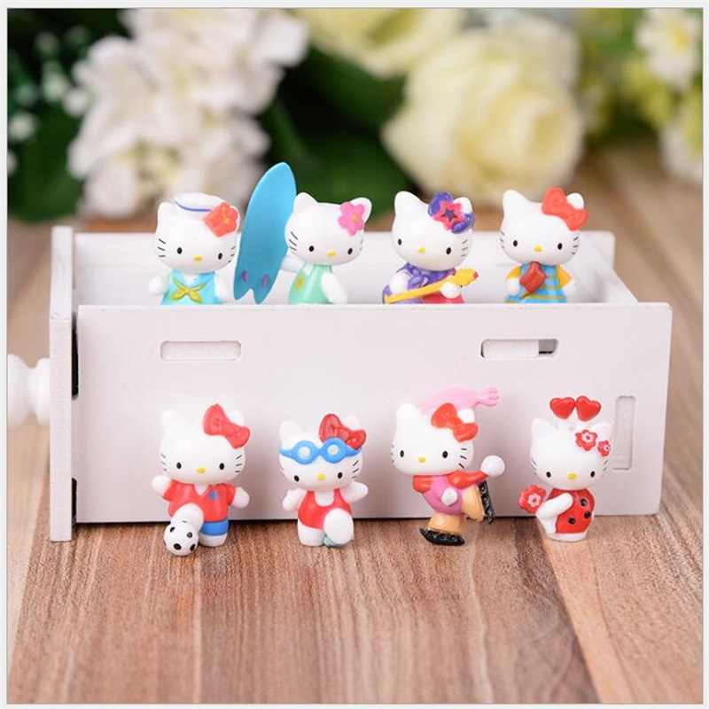 8pcs/lot 3cm Lovely Cat Miniature Figurines Toys Model Kids Toys PVC Japanese Anime Children Action Figure Toys