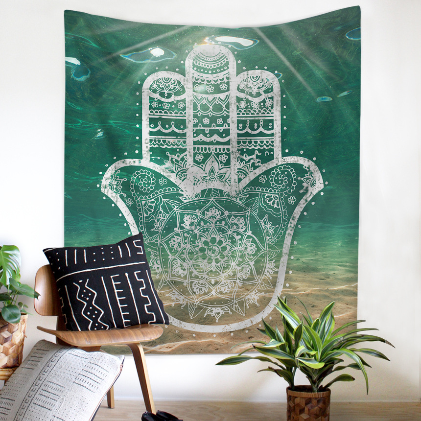 Mandala Hand of Fatima Printing Wall Tapestry Hanging Beach Towel Boho Dorm Decor Home Witchcraft Celestial Sun Moon Blanket-in Tapestry from Home & Garden
