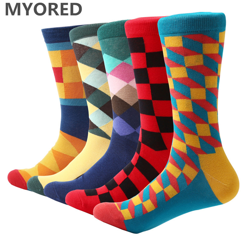MYORED 5 pair/lot Mens colorful cotton socks crew casual dress socks spring autumn funny for happy Argyle Filled Optic socks