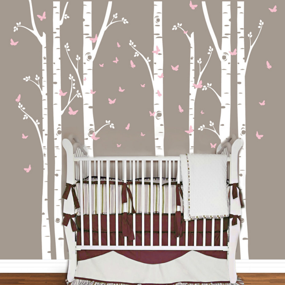 Huge birch tree butterfly vinyl wall sticker removable - Childrens bedroom wall stickers removable ...