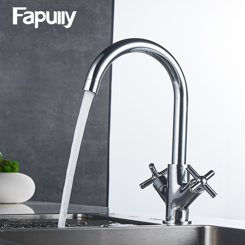 Fapully Kitchen Faucet Dual Handle Cold and hot Water Mixer Tap Chrome Water Tap Kitchen Torneira