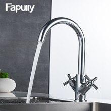 Fapully смеситель для кухни двойной ручкой холодной и горячей воды смесителя Chrome водопроводной воды кухня torneira