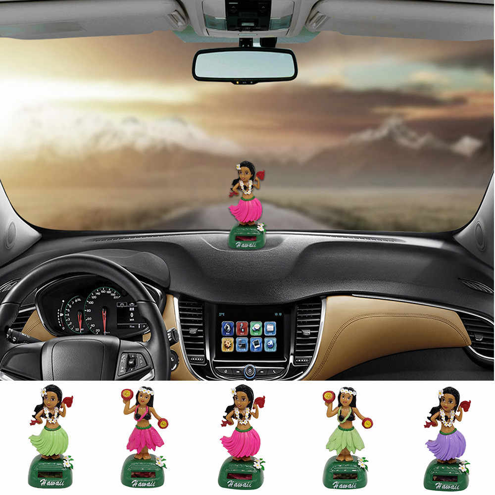 2019 NEW Hawaii Girl Car Solar Powered Dancing Animal Swinging Animated Bobble Dancer Car Dropshipping
