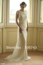 free shipping 2014 new fashion long design beaded vestidos lvory chiffon Formal Elegant party gown evening Dresses bridal