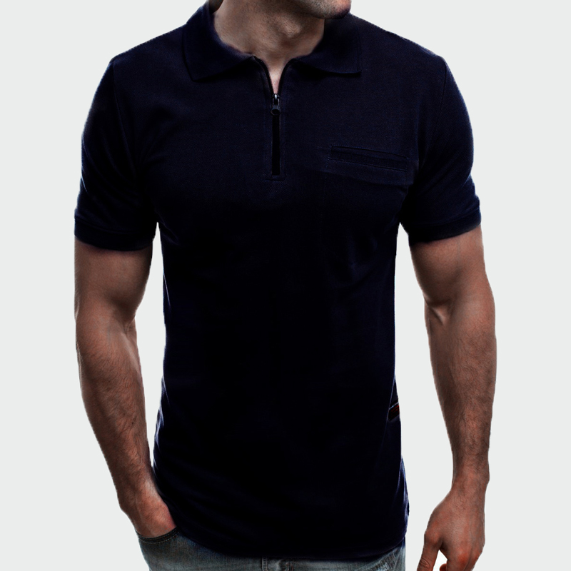 2019 New Summer Men Cool   Polo   Shirts Men Casual Short Sleeve   Polos   Shirts Fashion Mens Slim Zipper Tops Tees Para Ho 3XL ML250