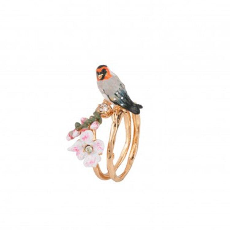 New Arrivals Enamel Animal Ring Women Glaze Cherry Blossoms Birdie Ring Gold Prevent Allergy Ornaments Fashion Jewelry цена в Москве и Питере