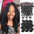 7A Body Wave Brazilian Lace Frontal Closure With Bundles,1Pcs Lace Frontal 13.5x4 With 3Pcs Human Hair Bundles