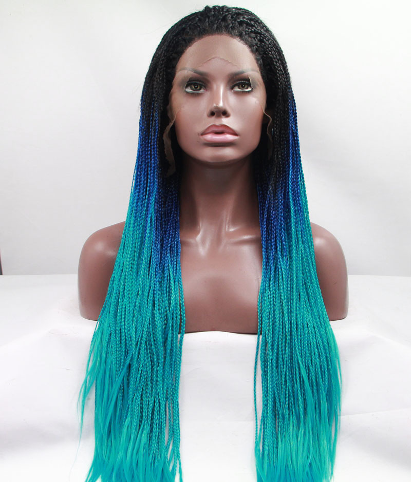Fashion Black Blue Green Ombre Micro Braided Synthetic