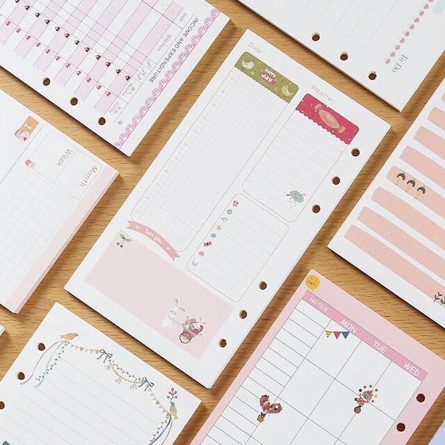40 листов/пакет A6 A5 красочные заправки тетрадь внутренних страниц 6 отверстий вкладыш Diario связующего бумаги планировщик наполнитель бумаги
