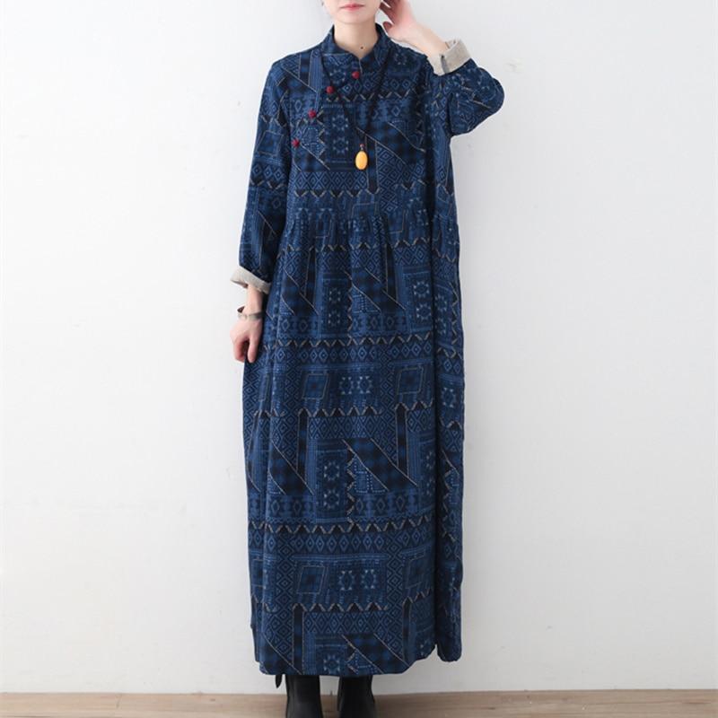 Johnature 2019 ผู้หญิงฤดูใบไม้ผลิผ้าฝ้ายชุดผ้าลินิน Vintage ใหม่หลวมขนาดใหญ่พิมพ์คอไม่สม่ำเสมอชุดยาว-ใน ชุดเดรส จาก เสื้อผ้าสตรี บน   1