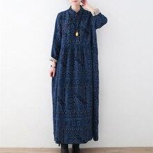 Johnature 2020 primavera vestidos de linho de algodão feminino novo vintage solto tamanho grande impressão gola irregularidade vestidos longos