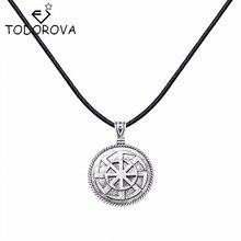 Todorova New Style Vintage Design Kolovrat Slavic Round Pendant Amulet Silver Necklace Norse Statement Jewelry