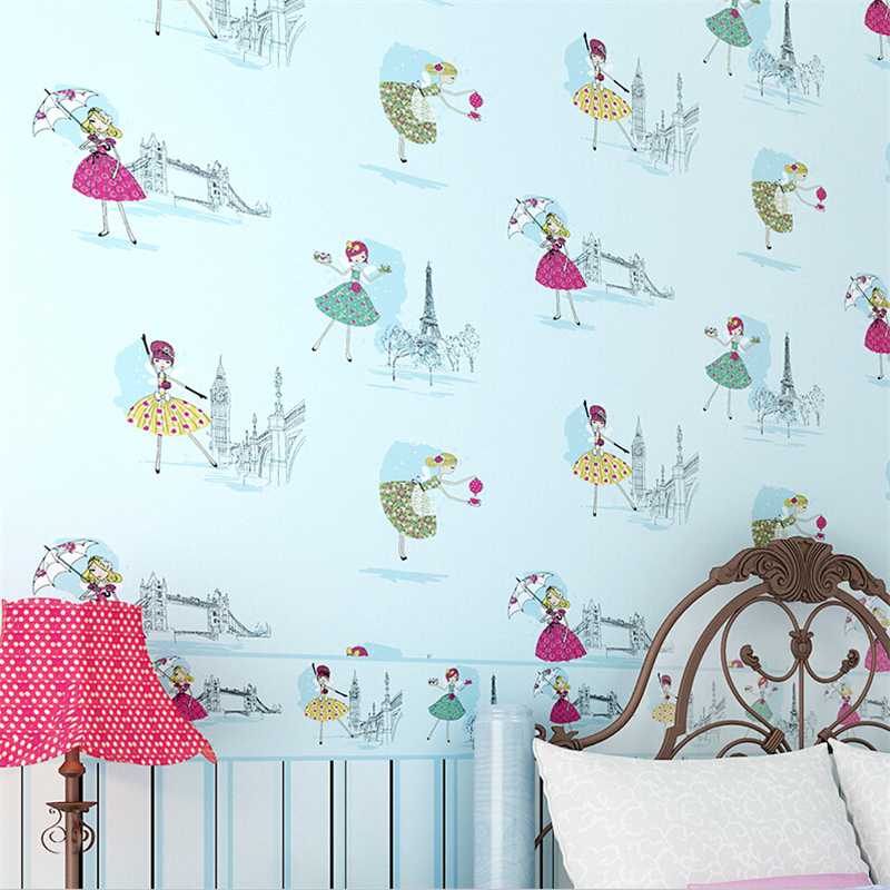beibehang Girl cartoon bedroom non - woven fabric environmental wallpaper romantic pink children 's room striped waist wallpaper beibehang girl pink garden flowers 3d wallpaper non woven wall paper children s room princess bedroom bedroom romantic and warm