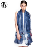 FS Echarpes Floral Embroidery Chinese 100 Silk Scarves For Ladies For Woman Hijab Scarfs Stoles Wrap Shawl High Quality