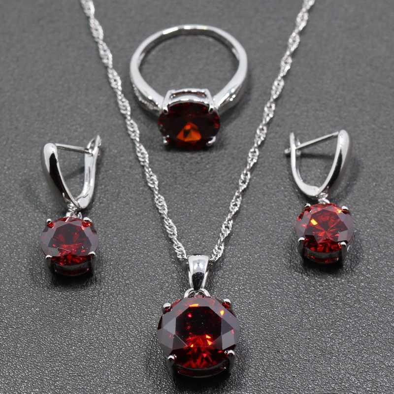 925 Sterling Silver Bạc Vui Vẻ Phụ Nữ Cưới 4 PCS Bộ Đồ Trang Sức Red Garnet Nhẫn Kích Thước 6/7/8/ 9/10 vòng đeo tay Chiều Dài 18 CM JS40