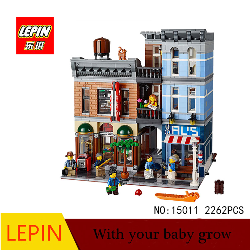 DHL Lepin 15011 2262pcs Series The Detective's Office Set  Assemble Building Blocks Toys Compatible With legoed city 10197 lepin 15011 parsian creator expert city street resturant minifigure avengers set assemble building blocks toys compatible legeod