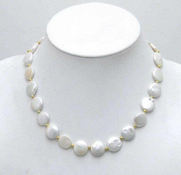 High quality Round WHITE 11-12mm COIN PEARL 17inch NECKLACE-5228 Whole sale and retail Free shipping