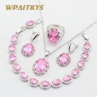 الوردي زركون مجموعات مجوهرات فضية اللون قلادة قلادة أقراط أساور خواتم للنساء هدية مجانية صندوق wpaitkys