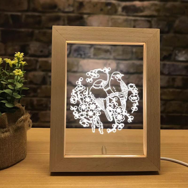 Creative Light LED Photo Frame Wooden Table Lamp Home 3D Night Light Crafts Ornaments Souvenir USB Interface 15 8 20 2cm in Frame from Home Garden