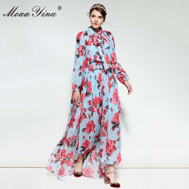 MoaaYina Spring Summer Designer Jumpsuits Women s Long Sleeves Elasticity Waist Rose Floral Printed Jumpsuits Long