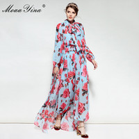 MoaaYina Spring Summer Designer Jumpsuits Women's Long Sleeves Elasticity Waist Rose Floral Printed Jumpsuits + Long Cloak