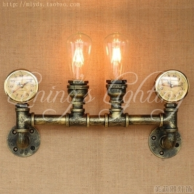 Nordic Loft Style Creative Clock Water Pipe Lamp Industrial Vintage Wall Light Fixtures For Edison Wall Sconce Indoor Lighting