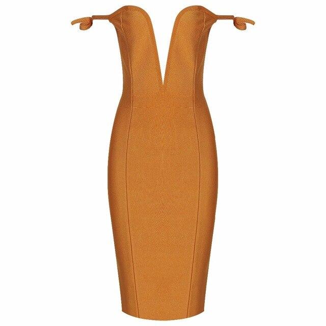 8f58cfa1a666 2018 new sexy dress wholesale mustard off shoulder deep plunge bandage dress  dropshipping Q-90