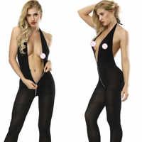 Lingerie Sexy femme entrejambe ouvert soutien-gorge ouvert Transparent Lingerie érotique Sexy Costumes sous-vêtements porno col en v profond robe de Babydoll
