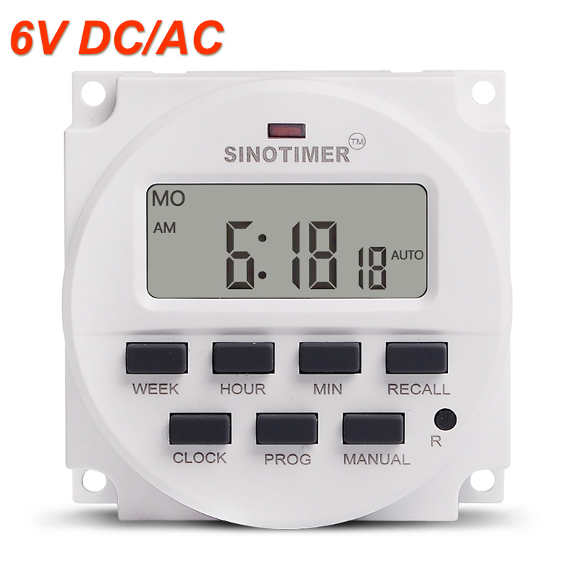 6V DC Timer switch 7 Days Programmable Time Relay with 12/24hr Format Clock Display BIG LCD 1.598 Inch
