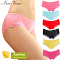 5Pcs/Lot 100% Quality Women's Underwear Bamboo Fiber Women Panties Sexy Lace Ladies lingerie Briefs